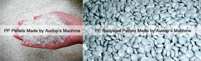 pellets made by plastic recycling machine